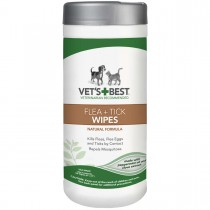 """Vet's Best Dog Flea and Tick Wipes 50 count White 3.3"""" x 3.3"""" x 8"""""""