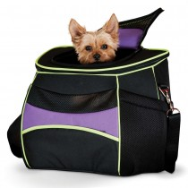 "K&H Pet Products Comfy Go Back Pack Carrier Purple/Black/Lime Green 15.35"" x 11.42"" x 13.98"" - KH1440"