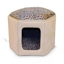 """K&H Pet Products Kitty Clubhouse Tan / Leopard (unheated) 17"""" x 16"""" x 13"""" - KH3892"""