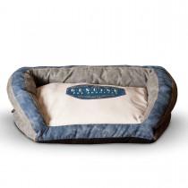 "K&H Pet Products Vintage Bolster Pet Bed Genuine Logo Large Gray / Blue 28"" x 40"" x 9"""