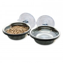 "K&H Pet Products EZ Mount Up and Away Kitty Double Diner Stainless Steel/Black 10"" x 6.5"" x 2"""